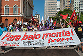 Belem, Para State, Brazil. Demonstration against the construction of the Belo Monte hydroelectric dam, 20th August 2011.