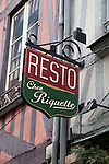 Restuarant Sign for Chez Riquette in Rouen, Normandy, France