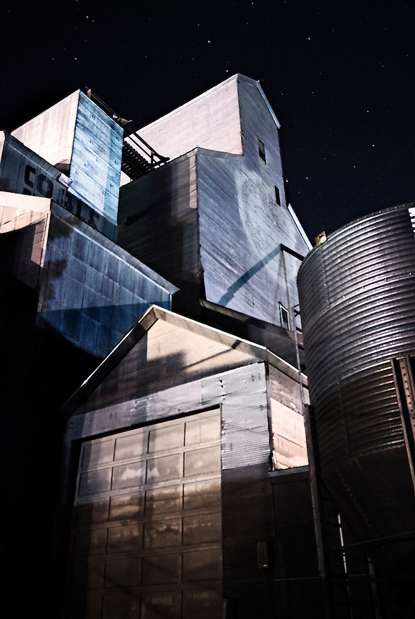 Stars shine above a grain elevator in downtown Bozeman, Montana.