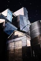 Stars shine above a grain elevator in downtown Bozeman, Montana.