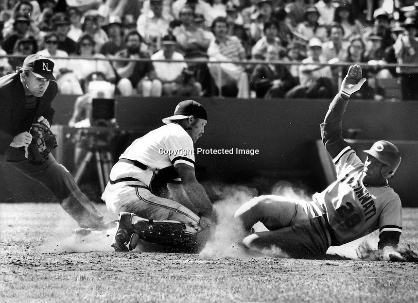 Giants catcher Milt May tags the foot of <br />Cincinnati Reds Cesar Cedeno at home..(April 18,1982<br />photo by Ron Riesterer)