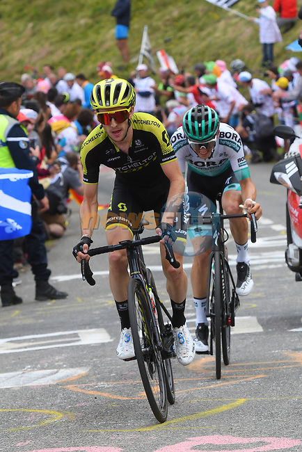 Simon Yates (GBR) Mitchelton-Scott and Gregor Mühlberger (Aut) Bora-Hansgrohe attacking on Horquette d'Ancizan during Stage 12 of the 2019 Tour de France running 209.5km from Toulouse to Bagneres-de-Bigorre, France. 18th July 2019.<br /> Picture: KARLIS | Cyclefile<br /> All photos usage must carry mandatory copyright credit (© Cyclefile | KARLIS)