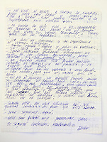 Letter from Edison Pena to journalist Dan McDougall....Edison Pena was the 12th miner to be freed from the San Jose mine in Chile where 33 miners were trapped for 69 days. He was the first to return home from hospital.