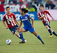 CARSON, CA – SEPTEMBER 19: KC Wizard midfielder Stephane Auvray (8), Chivas USA forward Justin Braun (17) and midfielder Ben Zemanski (21) during a soccer match at Home Depot Center, September 19, 2010 in Carson California. Final score Chivas USA 0, Kansas City Wizards 2.