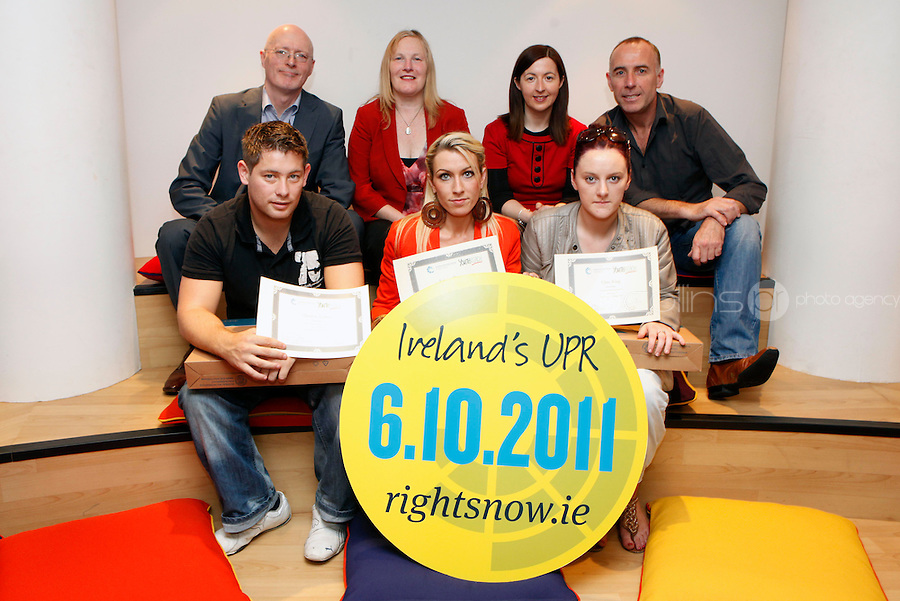 """***NO FEE PIC***.27/09/2011.(L to r) Back Row Dr Dermot Stokes National Co-Ordinator Youthreach,.Paula Daly Youthreach.Fiona Ryan Youthreach.Neville Thompson Youthreach.(L to r) front row Thomas Larkin from Sherrard St Youthreach recieves 3rd prize for his survey of discrimination in his community,.Lauren Donovan from Sherrard St Youthreach, dublin who won 1st prize for her video montage piece about domestic violence,.Clare King from Kiltimagh who recieved 2nd prize for her piece on Social injustice in the Irish Welfare System .during a """" Your Rights Right now""""/ Youthreach competition prizegiving award ceremony at the Office of the Ombudsman for Children, Dublin. The competition called on young Youthreach students to express themselves about the important human rights issues affecting their lives..Photo: Gareth Chaney Collins"""