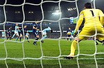 Ilkay Gundogan of Manchester City scores the opening goal of the game past Tottenham Hotspur goalkeeper Hugo Lloris during the premier league match at the Etihad Stadium, Manchester. Picture date 16th December 2017. Picture credit should read: Robin ParkerSportimage