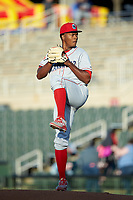 Lakewood BlueClaws starting pitcher Ramon Rosso (54) in action against the Kannapolis Intimidators at Kannapolis Intimidators Stadium on April 5, 2018 in Kannapolis, North Carolina.  The Intimidators defeated the BlueClaws 4-3.  (Brian Westerholt/Four Seam Images)