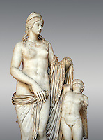 2nd century Roman statue of Venus known as the Venere Felice, inspired by the Hellenistic stsue of Aphrodite of Cnidus made by Greek sculptor Praixiteles in the 4th century BC. Possibly a Venus's face is a portrait of Sallustia who dedicated the statue with Helpidus, and the Eros may be a portrait of her young son. inv 129, Vatican Museum Rome, Italy,  grey  background