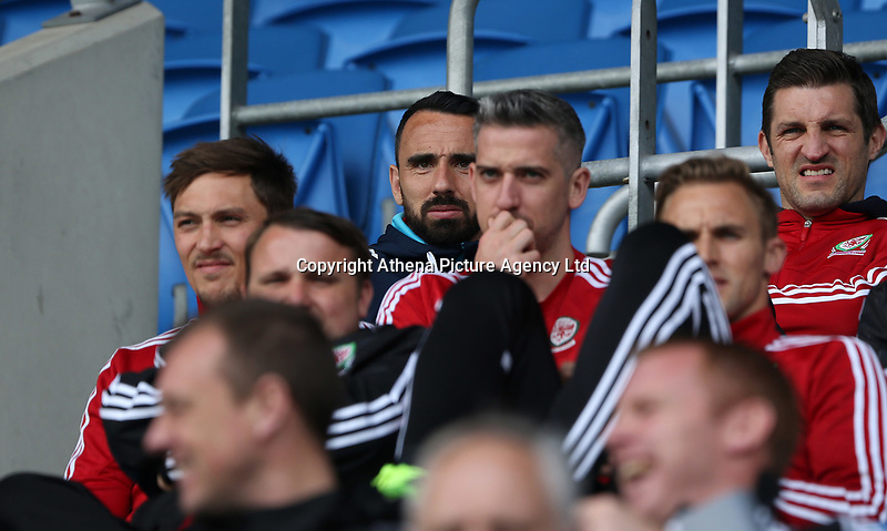 Leon Britton watches the FAW Youth Cup match between Swansea City and Cambrian and Clydach at The Cardiff City Stadium, Cardiff, Wales, UK. Sunday 23 April 2017