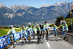 Slovenia Team wheelie time training ride before the 2018 UCI Road World Championships, Innsbruck-Tirol, Austria 2018. 26th September 2018.<br /> Picture: Innsbruck-Tirol 2018/BettiniPhoto | Cyclefile<br /> <br /> <br /> All photos usage must carry mandatory copyright credit (&copy; Cyclefile | Innsbruck-Tirol 2018/BettiniPhoto)