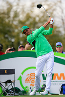 Rickie Fowler (USA) on the 9th during the 3rd round of the Waste Management Phoenix Open, TPC Scottsdale, Scottsdale, Arisona, USA. 02/02/2019.<br /> Picture Fran Caffrey / Golffile.ie<br /> <br /> All photo usage must carry mandatory copyright credit (© Golffile | Fran Caffrey)