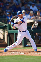 Todd Frazier (21) of the Texas Rangers at bat during a Cactus League Spring Training game against the Los Angeles Dodgers on March 8, 2020 at Surprise Stadium in Surprise, Arizona. Rangers defeated the Dodgers 9-8. (Tracy Proffitt/Four Seam Images)