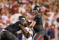 Hawgs Illustrated/BEN GOFF <br /> Cole Kelley, Arkansas quarterback, looks for a receiver in the first quarter against Auburn Saturday, Oct. 21, 2017, at Reynolds Razorbacks Stadium in Fayetteville.
