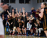 SIOUX FALLS, SD: MARCH 10:  The Northern State bench celebrates a score against Augustana during the 2018 NCAA Division II Women's Basketball Central Region Tournament at the Elmen Center in Sioux Falls, S.D.    (Photo by Dick Carlson/Inertia)