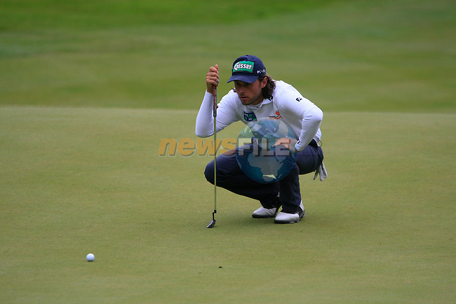 Martin Wiegele (AUT) lines up his putt on the 3rd green during Day 3 of the BMW PGA Championship Championship at, Wentworth Club, Surrey, England, 28th May 2011. (Photo Eoin Clarke/Golffile 2011)