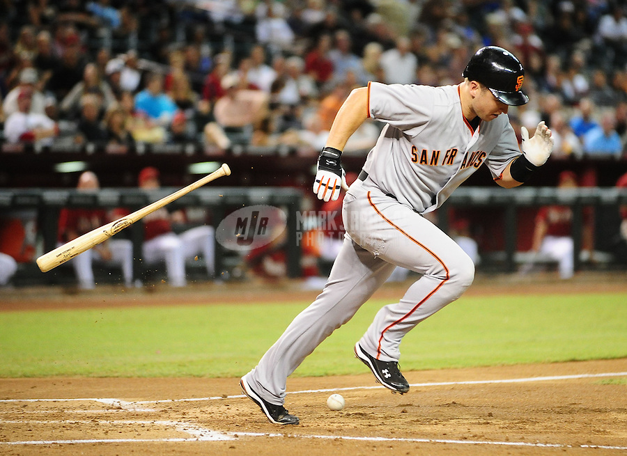Sept. 8, 2010; Phoenix, AZ, USA; San Francisco Giants catcher Buster Posey against the Arizona Diamondbacks at Chase Field. Mandatory Credit: Mark J. Rebilas-