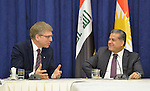 The Rev. Dr. Olav Fykse Tveit (left), the general secretary of the World Council of Churches, talks with Falah Mustafa, the head of foreign relations for the Kurdistan Regional Government in northern Iraq, during the visit of an ecumenical delegation to Mustafa's office in Erbil on January 23, 2017.