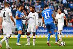 07.10.2018, wirsol Rhein-Neckar-Arena, Sinsheim, GER, 1 FBL, TSG 1899 Hoffenheim vs Eintracht Frankfurt, <br /><br />DFL REGULATIONS PROHIBIT ANY USE OF PHOTOGRAPHS AS IMAGE SEQUENCES AND/OR QUASI-VIDEO.<br /><br />im Bild: Kerem Demirbay (TSG Hoffenheim #10), Jonathan de Guzman (Eintracht Frankfurt #6)<br /><br />Foto &copy; nordphoto / Fabisch