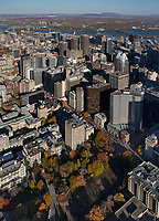 aerial photograph of the Montreal financial district in fall, Quebec, Canada