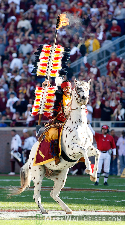 Chief Osceola atop Renegade at mid-field at the start of the 1st half of Florida State's NCAA football game against Clemson at Bobby Bowden field on the Florida State University campus in Tallahassee, Florida November 8, 2008.  (Mark Wallheiser/TallahasseeStock.com)