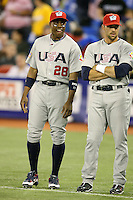 March 8, 2009:  Curtis Granderson (28) and Mark DeRosa (7) of Team USA during the first round of the World Baseball Classic at the Rogers Centre in Toronto, Ontario, Canada.  Team USA defeated Venezuela  15-6 to secure a spot in the second round of the tournament.  Photo by:  Mike Janes/Four Seam Images