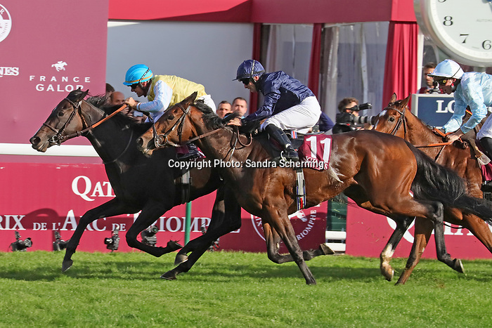 October 06, 2019, Paris (France) - Villa Marina (5) with Olivier Peslier up wins the Prix de l'Opéra Longines (Gr I) on October 6 in ParisLongchamp. [Copyright (c) Sandra Scherning/Eclipse Sportswire)]
