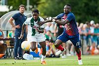 HAREN - Voetbal, FC Groningen - SM Caen, voorbereiding seizoen 2018-2019, 04-08-2018, FC Groningen speler Deyovaisio Zeefuik met Casimir Ninga