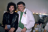 JOE SATRIANI AND BILL GRAHAM, BACKSTAGE, 1988, NEIL ZLOZOWER
