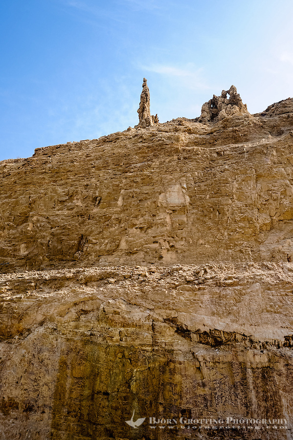 The Dead Sea is a salt lake bordering Jordan to the east and Israel and the West Bank to the west. According to myths this is Lot's wife transformed into a salt pillar.