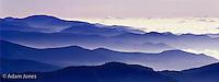 Blue haze of Appalachian mountain ridges at sunrise, Great Smoky Mountains National Park, North Carolina