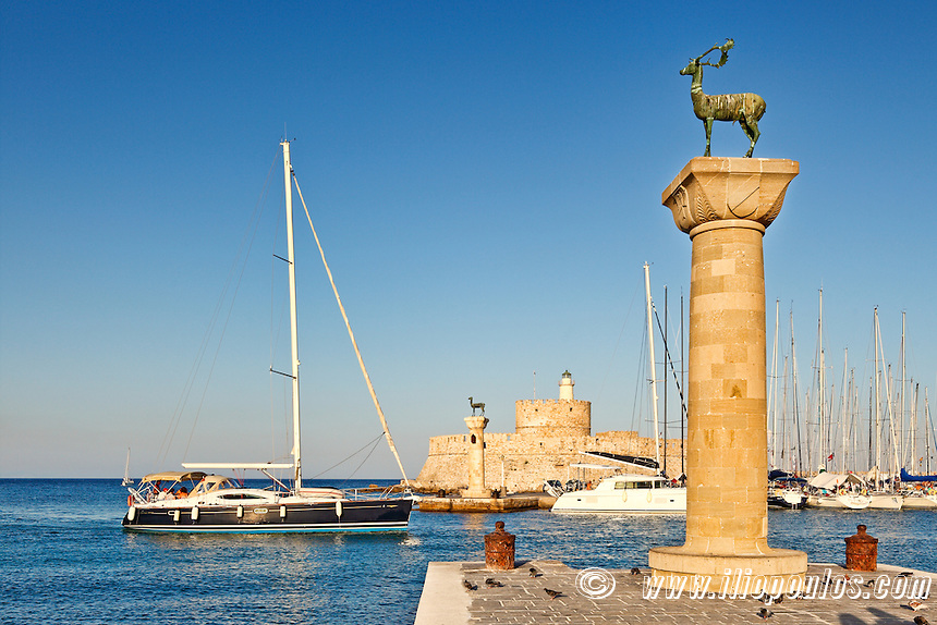 The entrance with the deers of the old port of Rhodes, Greece