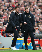 7th March 2020; Anfield, Liverpool, Merseyside, England; English Premier League Football, Liverpool versus AFC Bournemouth; Bournemouth manager Eddie Howe looks on from the technical area