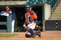 Caleb Knight (5) of the Virginia Cavaliers on defense against the Duke Blue Devils in Game Seven of the 2017 ACC Baseball Championship at Louisville Slugger Field on May 25, 2017 in Louisville, Kentucky. The Blue Devils defeated the Cavaliers 4-3. (Brian Westerholt/Four Seam Images)