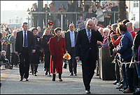 BNPS.co.uk (01202 558833)<br /> Pix: Sally Adams/BNPS<br /> <br /> Opening ceremony number 3 on the 12 March 2012 - Princess Anne is whisked across the bridge without stopping and on to Poole Quay to meet the crowds as the bridge was still closed.<br /> <br /> Road to nowhere...Britain's worst bridge has closed yet again, and red faced council can only promise it will reopen in 'mid Autumn'.<br /> <br /> Bridge of sighs - The £37million bridge which has endured a litany of mishaps is now out of action again - until the mid-Autumn.<br /> <br /> The Twin Sails Bridge in Poole, Dorset, which is currently stuck in an upright position, has been plagued by numerous technical faults since it was unveiled amid much fanfare in 2012.<br /> <br /> It was previously out of action in November and December of last year, and for two weeks in February. <br /> <br /> The latest closure is a further blow to locals as the Sandbanks Ferry, which covers a 250ft stretch of water between Sandbanks and Studland, has been shut since July and will not run again until October - forcing motorists to make a 25 mile detour.<br /> <br /> It has sparked outrage on social media, with some labelling it an 'expensive white elephant'.