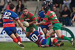 Maka Tatafu gets his pass away to Graeme Brent. Counties Manukau Premier rugby game between Waiuku & Ardmore Marist played at Waiuku on Saturday May 10th 2008..Ardmore Marist won 27 - 6 after leading 10 - 6 at halftime.