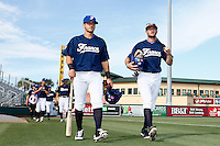 20 September 2012: Maxime Lefevre and Joris Bert arrive on the field prior to Spain 8-0 win over France, at the 2012 World Baseball Classic Qualifier round, in Jupiter, Florida, USA.