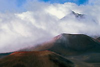 Because of the high elevation of HALEAKALA NATIONAL PARK on Maui in Hawai it is not unusual to have clouds in the crater
