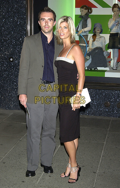 CAROLINE FARADAY.Made in Italy Party at Harrods, Knightsbridge, London, September 9th 2004..full length black dress silver diamante trim shoes Farraday Feraday Ferraday.Ref: PL.www.capitalpictures.com.sales@capitalpictures.com.©Capital Pictures.