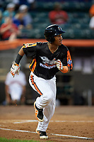 Aberdeen IronBirds third baseman Jean Carmona (37) runs to first base during a game against the Staten Island Yankees on August 23, 2018 at Leidos Field at Ripken Stadium in Aberdeen, Maryland.  Aberdeen defeated Staten Island 6-2.  (Mike Janes/Four Seam Images)