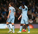 Wilfried Bony of Manchester City reacts after Tim Krul of Newcastle United s(not in picture) saves his shot - Barclays Premier League - Manchester City vs Newcastle Utd - Etihad Stadium - Manchester - England - 21st February 2015 - Picture Simon Bellis/Sportimage
