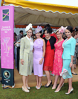 Pictured enjoying the summer fayre on the Ross Hotel / Lane Bar Champagne &amp; Cocktail Marquee at Killarney Races ladies Day on Thursday were from left, Christina Foley, Kenmare, Edel Crowley, Kenmare, Fiona McGillycuddy, Killorglin, Jennifer O&quot;Sullivan, Killarney and Liza Brennan, Cork.<br /> Picture by Don MacMonagle<br /> <br /> <br /> PR Photo from Ross Hotel