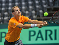 Switserland, Genève, September 16, 2015, Tennis,   Davis Cup, Switserland-Netherlands, Practise Dutch team, Thiemo de Bakker<br /> Photo: Tennisimages/Henk Koster