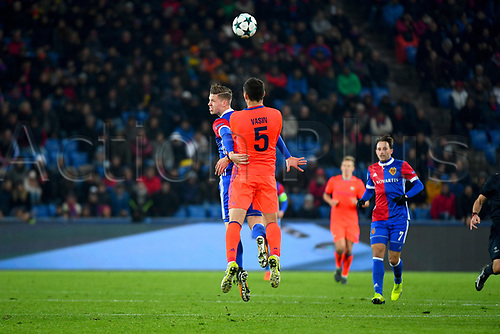 31st October 2017, St Jakob-Park, Basel, Switzerland; UEFA Champions League, FC Basel versus CSKA Moscow; Cedric Itten of FC Basel challenges Viktor Vasin of CSKA Moscow to the ball