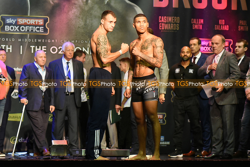 Boxers Conor Benn (R) and Joe Ducker during a Weigh-In at the O2 Arena on 9th September 2016