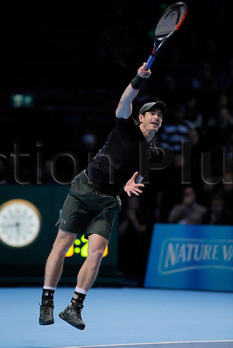 19.11.2016. The O2, London, England. ATP Tour Tennis Finals, Day Seven.  Andy Murray (GBR) defeats Milos Raonic (CAN) by a score 5-7, 7-6(5), 7-6(9) in their semifinals during day 7 at Barclays ATP World Tour Finals from the O2 Arena.