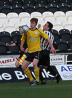 Tyler Fulton being challenged by Anton Brady in the St Mirren v Falkirk Clydesdale Bank Scottish Premier League Under 20 match played at St Mirren Park, Paisley on 30.4.13. .