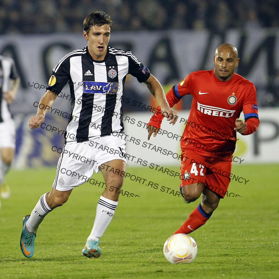 Stefan Scepovic Jonathan (42) UEFA Europa League group H football match between Partizan and FC Internazionale Milano (Inter Milan) in Belgrade Serbia, November 8, 2012. (credit & photo: Pedja Milosavljevic / +381 64 1260959 / thepedja@gmail.com)