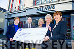 Management and staff of Shaw's, Tralee presenting a cheque for €2455.00 Eileen Kennedy of Recovery Haven for a funraising fashion show which was organised by Mike Quinn,General Manager, Anna Bunyan and Marie Guthrie. The fashion show took place in the Ashe Hotel in November. Pictured l-r Eileen Kennedy, Mike Quinn, Mary O'Regan, Anna Bunyan and Marie Guthrie