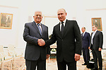 Palestinian President Mahmoud Abbas meets with Russian President Vladimir Putin at the Kremlin in Moscow on July 14, 2018. Photo by Thaer Ganaim