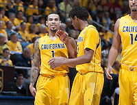 Justin Cobbs of California talks with Tyrone Wallace of California during the game against Arizona at Haas Pavilion in Berkeley, California on February 1st, 2014.  California Golden Bears defeated Arizona Wildcats, 60-58.